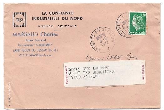 Ambulant SAINTES A POITIERS / 30 C Cheffer Typo - Marcophilie (Lettres)