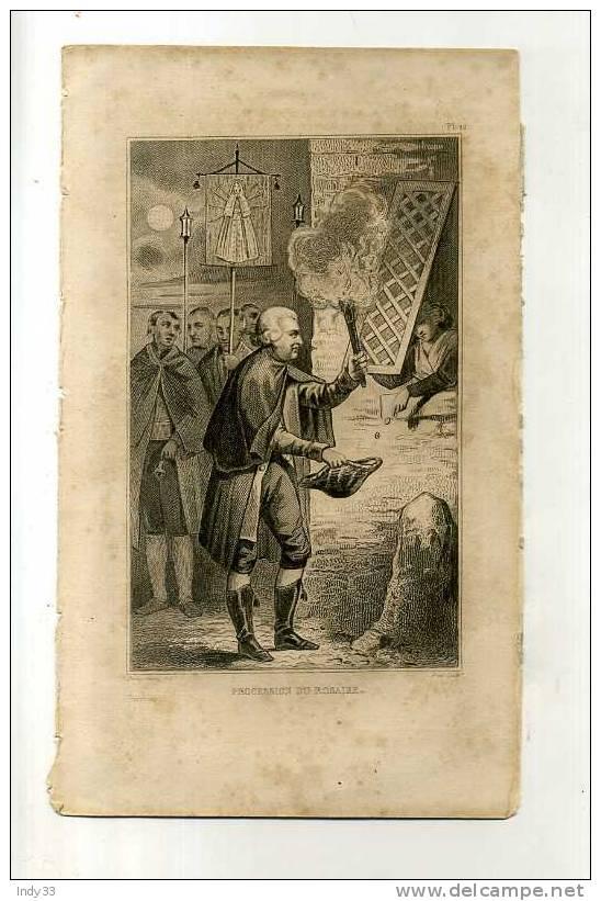 - PROCESSION DU ROSAIRE . GRAVURE SUR ACIER DE LA 1ere 1/2 DU XIXe S. - Religione & Esoterismo