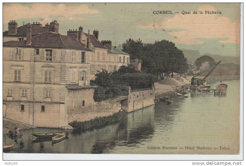 CPA 91 CORBEIL  QUAI DE LA PECHERIE - CARTE TOILEE ET COLORISEE - Corbeil Essonnes