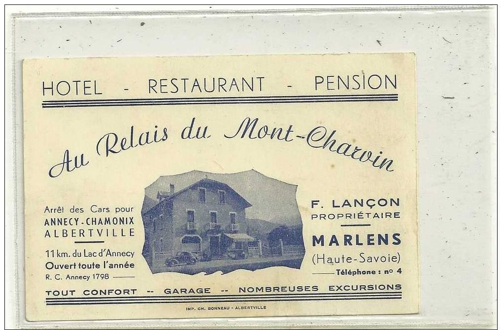 MARLENS CARTON PUBLICITAIRE HOTEL RESTAURANT  LANCON  PROPRIETAIRE - Publicidad