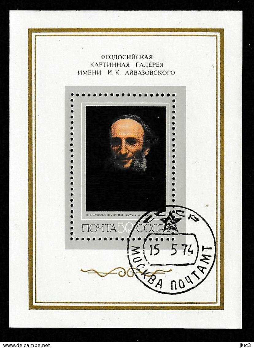 Bo092 - URSS 1974 - Bloc N°9 (YT) Avec Empreinte 'Expo Philatélique De Moscou - Portrait De Aivazovski Par Kramskoï - Arte