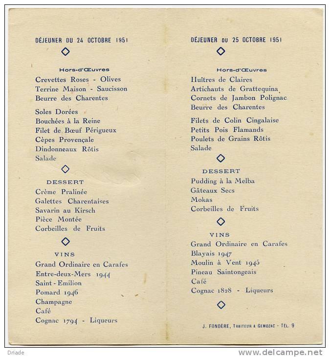 Menu pranzo di matrimonio gemozac anno 1951 poitou - Menu per ospiti a pranzo ...