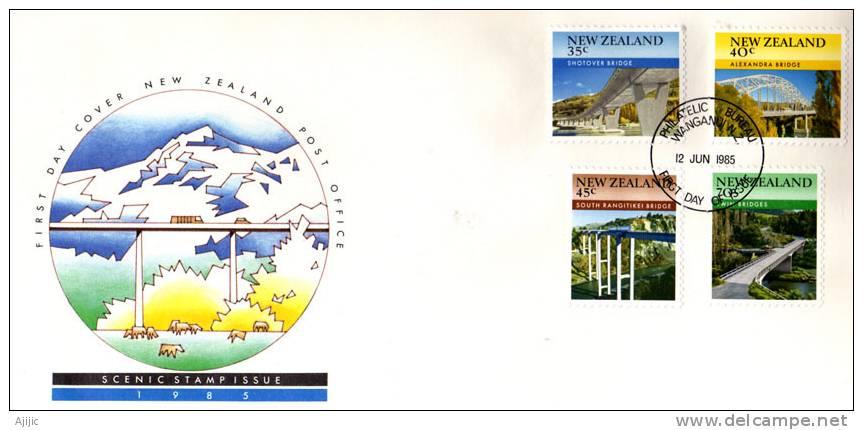 Ponts De Nouvelle-Zelande.  FDC Officiel De 1985  (Yvert  897/900) - Ponti