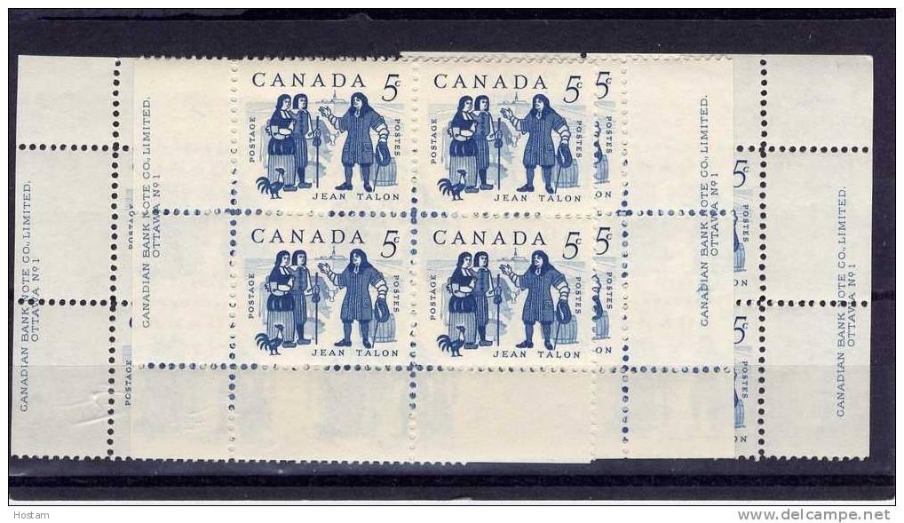 CANADA 1962, MINT, #398,  JEAN TALON & COLONISTS .  SET OF 4  BLOCK  PLATE 1   M NH - Blocs-feuillets
