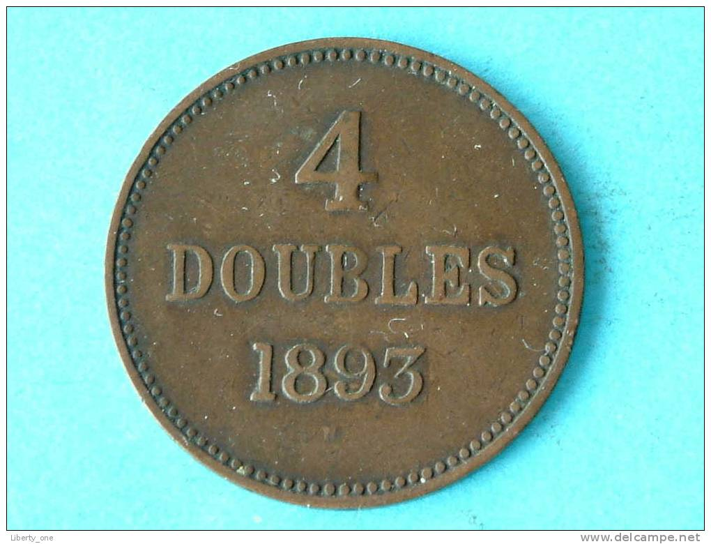 1893 H - 4 DOUBLES / KM 5 ( For Grade, Please See Photo ) !! - Guernsey