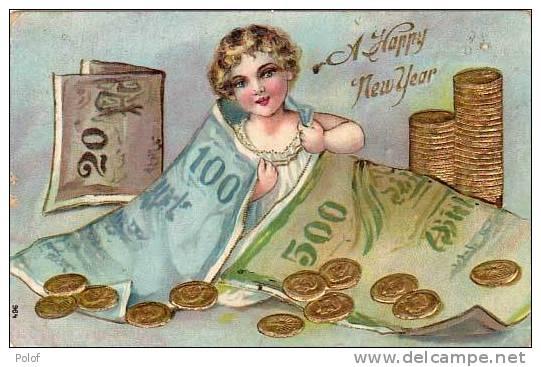 Billets De Banque Et Pieces De Monnaie - Cpa Gaufree (19930) - Monnaies (représentations)