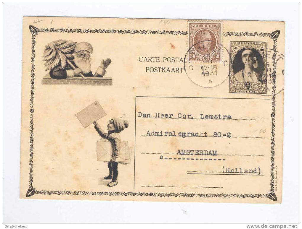 Carte Illustrée Elisabeth Et Père Noel - TP Houyoux THIELT 1931 Vers NL --  B7/011 - Stamped Stationery