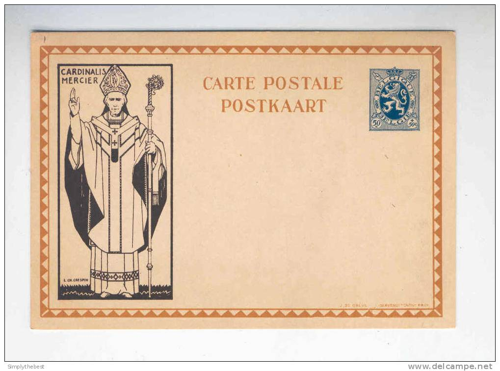 Carte Illustrée Cardinal Mercier 50 C - Non Circulée --  B7/012 - Stamped Stationery