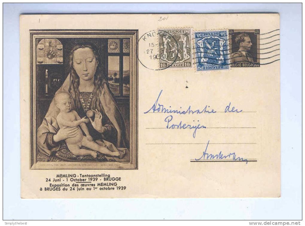 2 X Carte Illustrée 40 C Et 1 F  EXPO  Memling 1939 - Circulées Vers NL --  B7/017 - Stamped Stationery