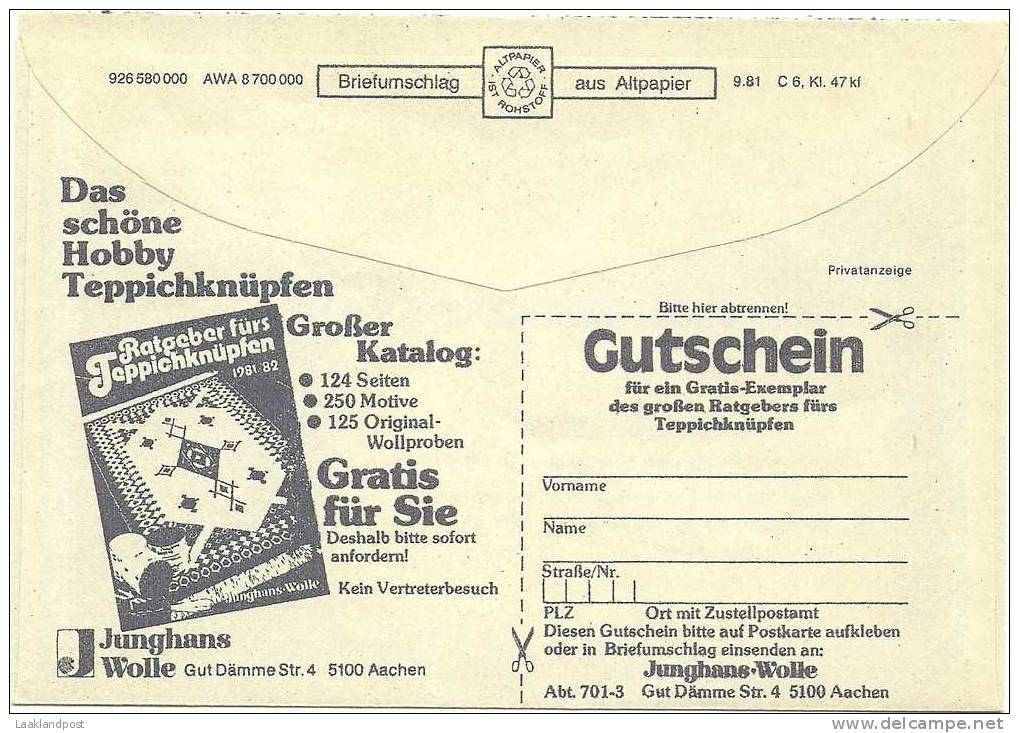 Germany Gyrocover Advertising Jonghans Wolle, Ratgeber Furs Tappichknupfen Free Postage (E1326) - Textiel
