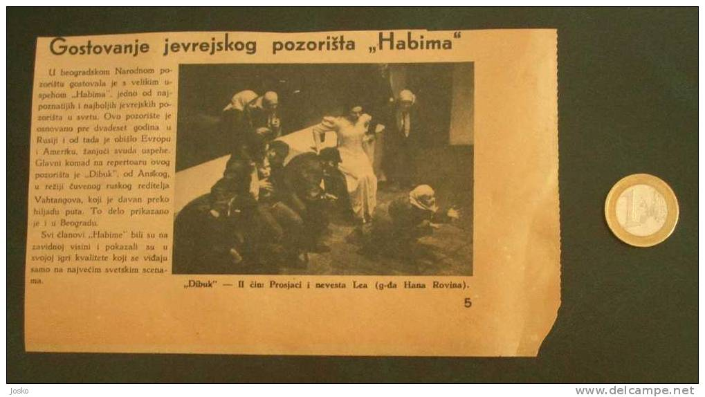 "HABIMA Jewish Theater In Russia - Original Newspaper Clipping From \"" Panorama \"" Newspaper ( Yugoslavia 1940.) JUDAICA - Magazines: Subscriptions"