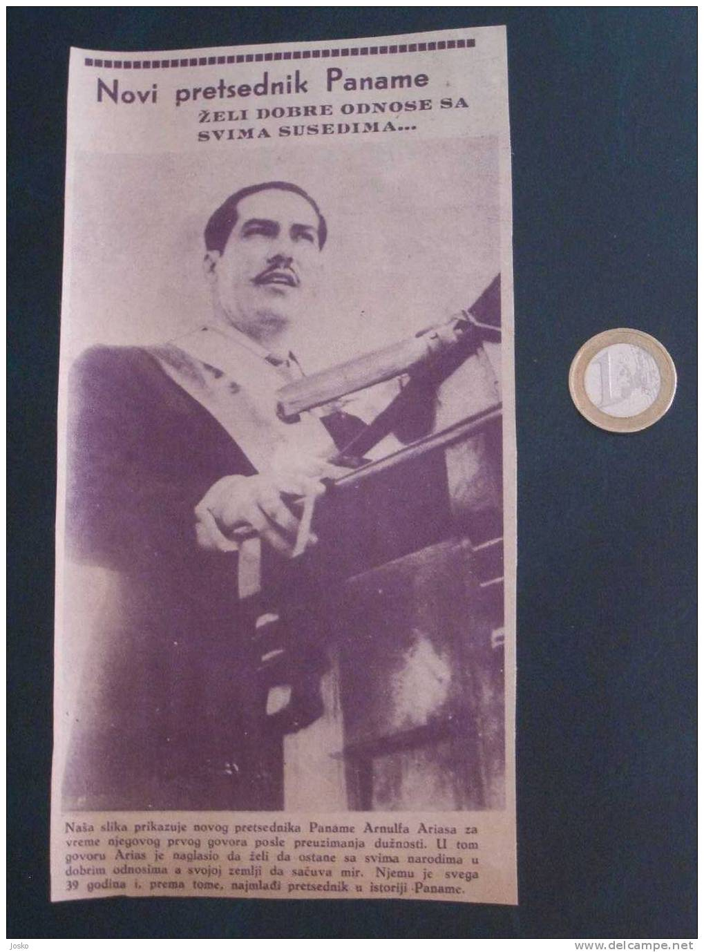 "ARNULFO ARIAS New Panama President - Original Newspaper Clipping From \"" Panorama \"" Newspaper - Yugoslavia 1940. - Magazines: Subscriptions"