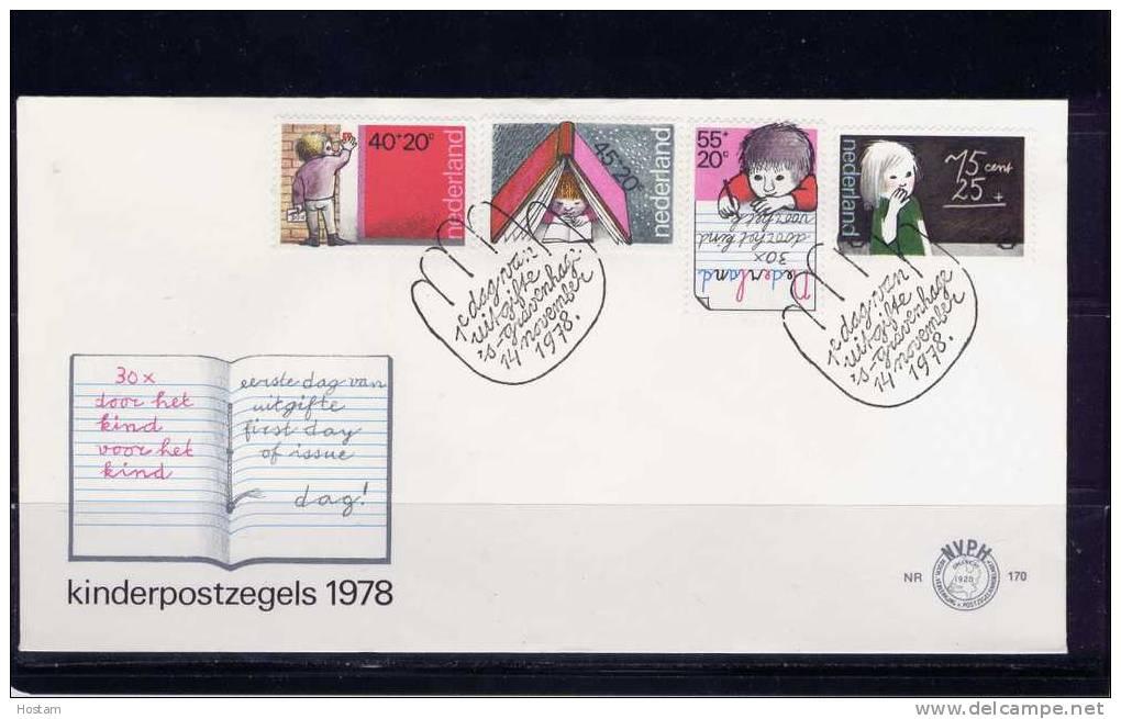 NEDERLAND 1978, OFDC  CHILDREN STAMPS - FDC