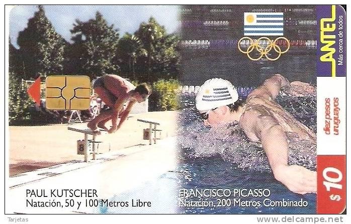 Nº 136 TARJETA DE URUGUAY DE NATACION DE 10$ - Uruguay