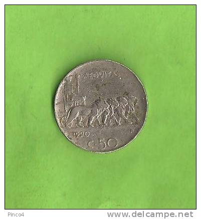 VITTORIO EMANUELE III  50 CENTESIMI LEONI 1920 RIGATO - 1861-1946 : Regno