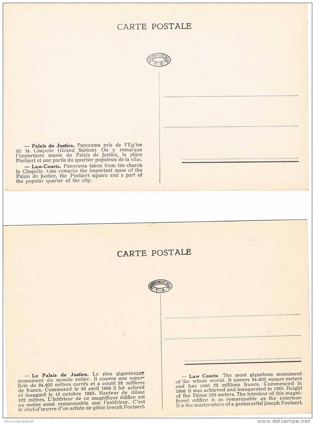 Carte Postale Ancienne - BRUXELLES - PALAIS DE JUSTICE LOT DE 2 CARTES - Monumentos, Edificios