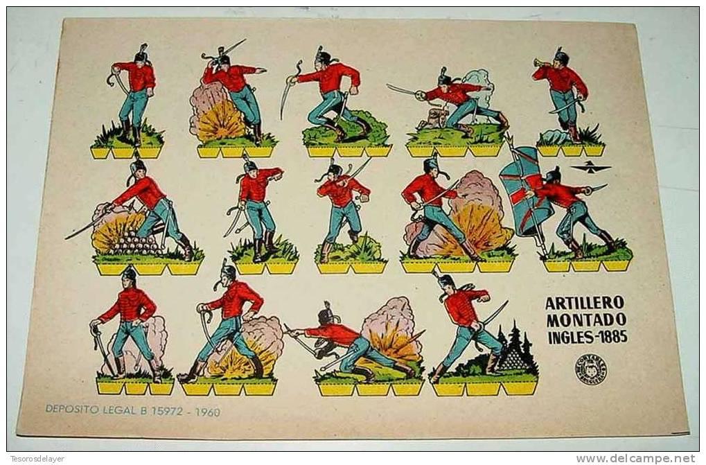ANTIGUO RECORTABLE BRUGUERA - ARTILLERO MONTADO INGLES 1885  - AÑO 1960 - 23,5 X 17 CMS. CUT OLD SOLDIERS - PAPER SOLDIE - Militares