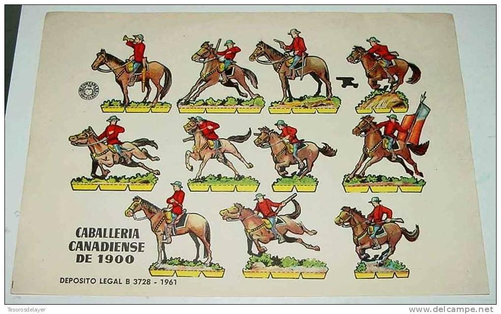 ANTIGUO RECORTABLE BRUGUERA - CABALLERIA CANADA 1900 - AÑO 1960 - 23,5 X 17 CMS - CUT OLD SOLDIERS - PAPER SOLDIER - Militares