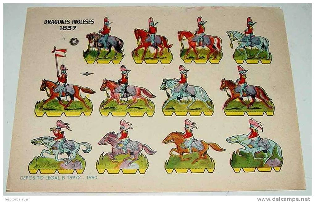 ANTIGUO RECORTABLE BRUGUERA - DRAGONES INGLESES 1837 - AÑO 1960 - 23,5 X 17 CMS - CUT OLD SOLDIERS - PAPER SOLDIER - Militares