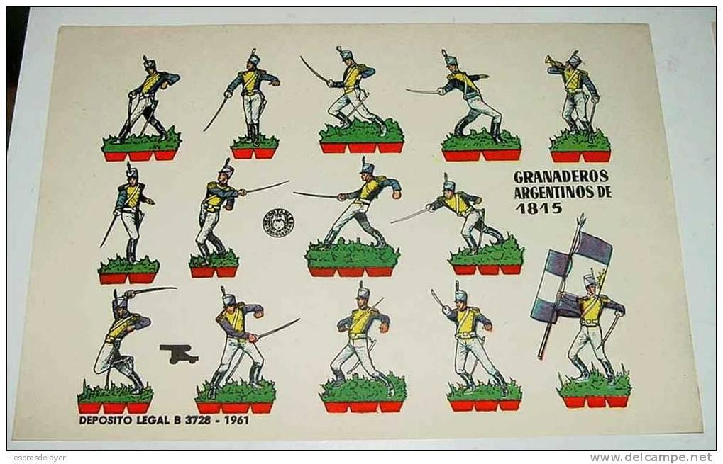 ANTIGUO RECORTABLE BRUGUERA - GRANADEROS ARGENTINOS DE 1815 ARGENTINA - AÑO 1960 - MIDE 23,5 X 17 CMS - CUT OLD SOLDIER - Militares