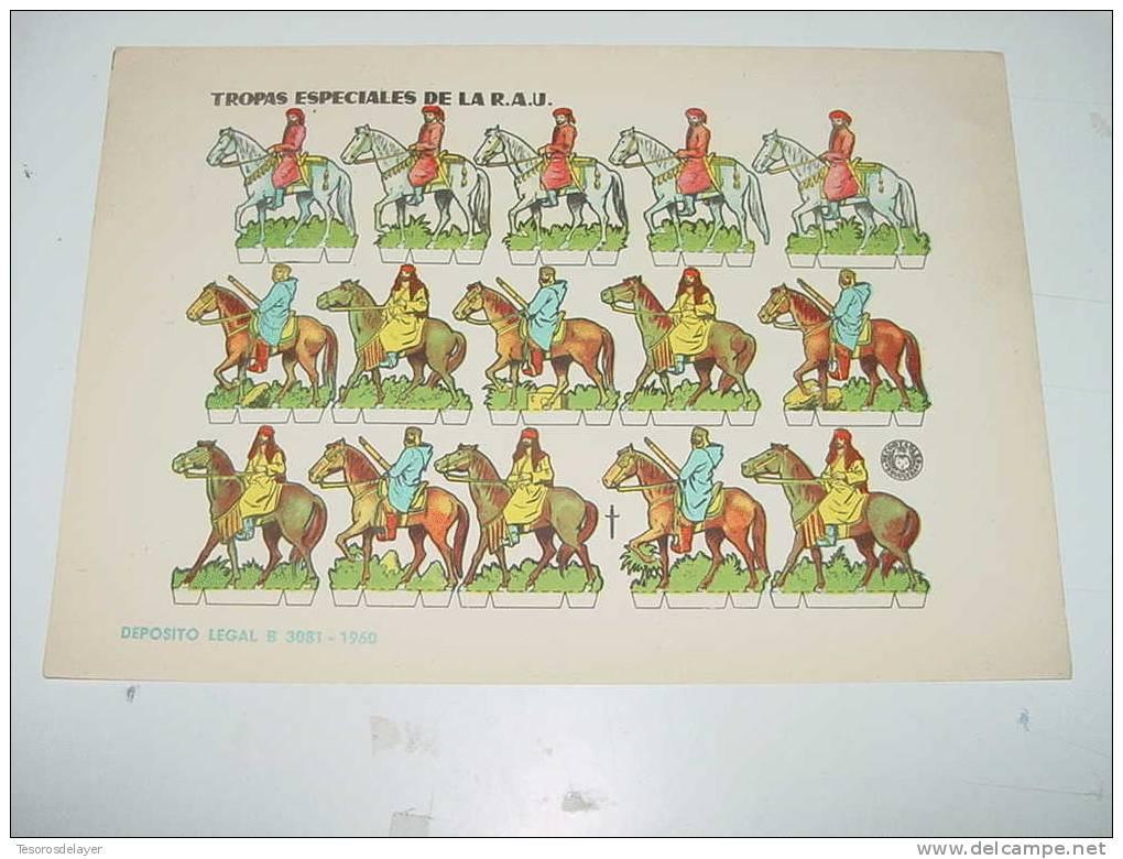 ANTIGUO RECORTABLE BRUGUERA - TROPAS ESPECIALES DE LA REPUBLICA ARABE UNIDA - AÑO 1960 - MIDE 23,5 X 17 CMS - CUT OLD SO - Militares