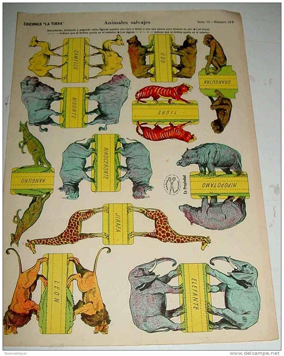 ANTIGUO RECORTABLE EDICIONES LA TIJERA - ANIMALES SALVAJES - SERIE 10 NUMERO 199 - MIDE 33 X 23 CMS - CUT OLD SOLDIER - - Militares