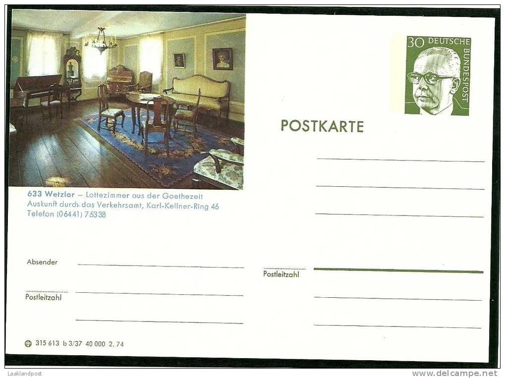Germany Postal Stationary WETZLAR Lottezimmer Aus Der Goethezeit  (E1354) - Schrijvers