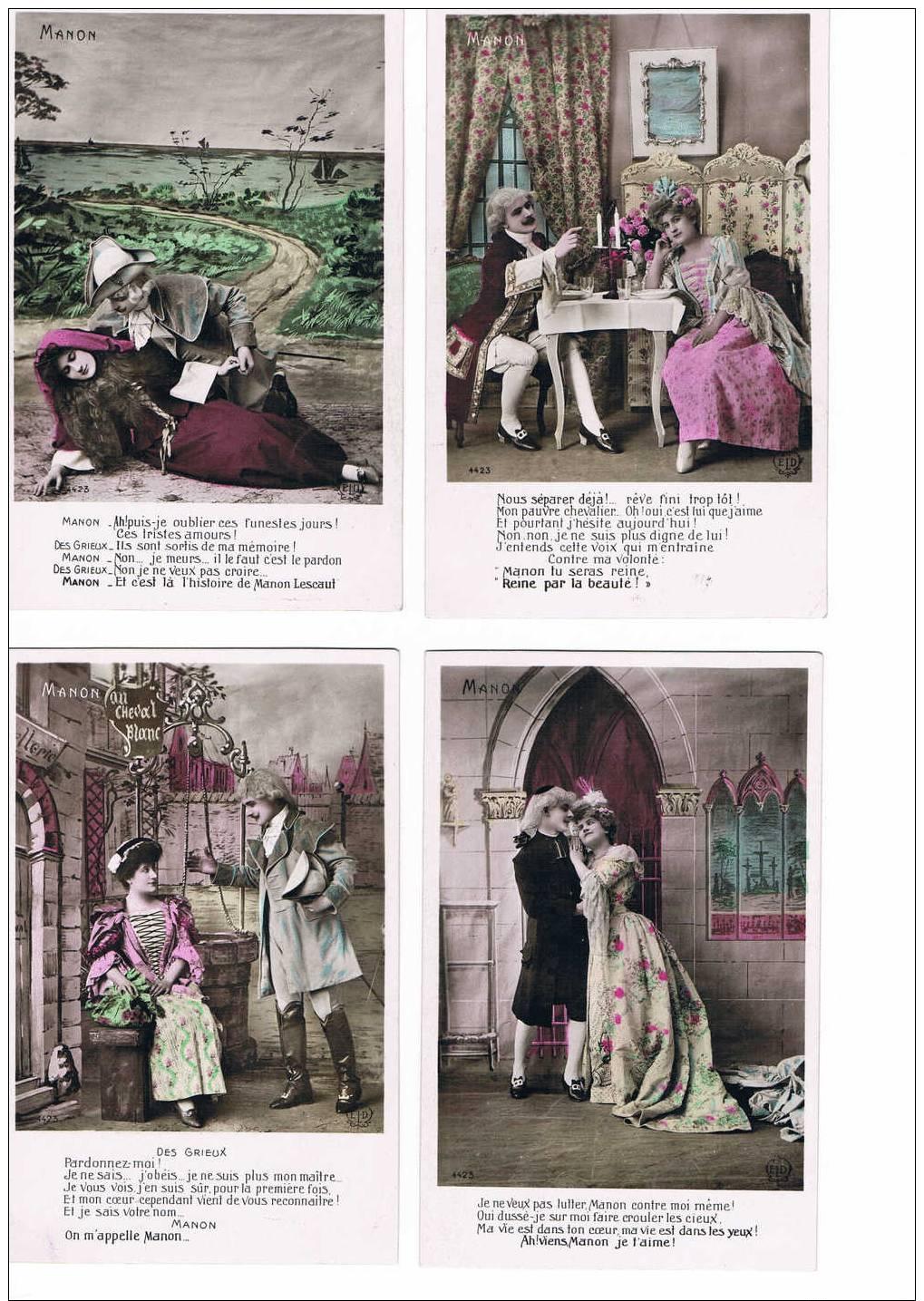 LOT DE 10 CARTES POSTALES - MANON - TRANCHE DOREE - - Teatro