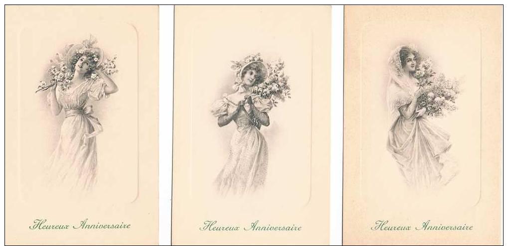 LOT DE 5 CARTES POSTALES - Anniversaire - Femme Aux Fleurs - Anniversaire