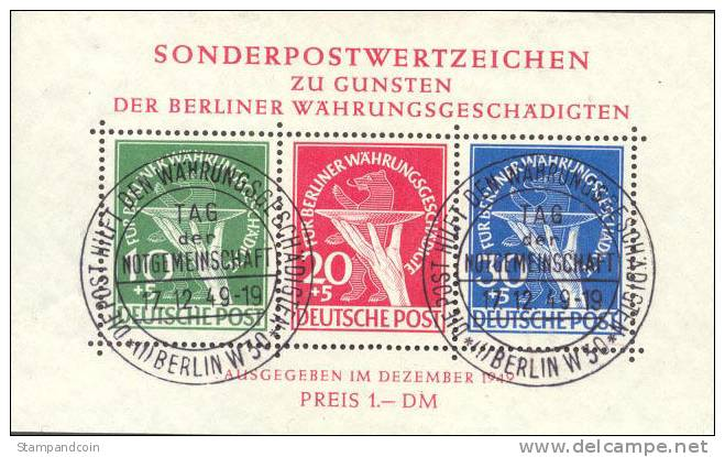 Germany Berlin 9NB3a Used Semi-Postal Sheet From 1949 - Used Stamps