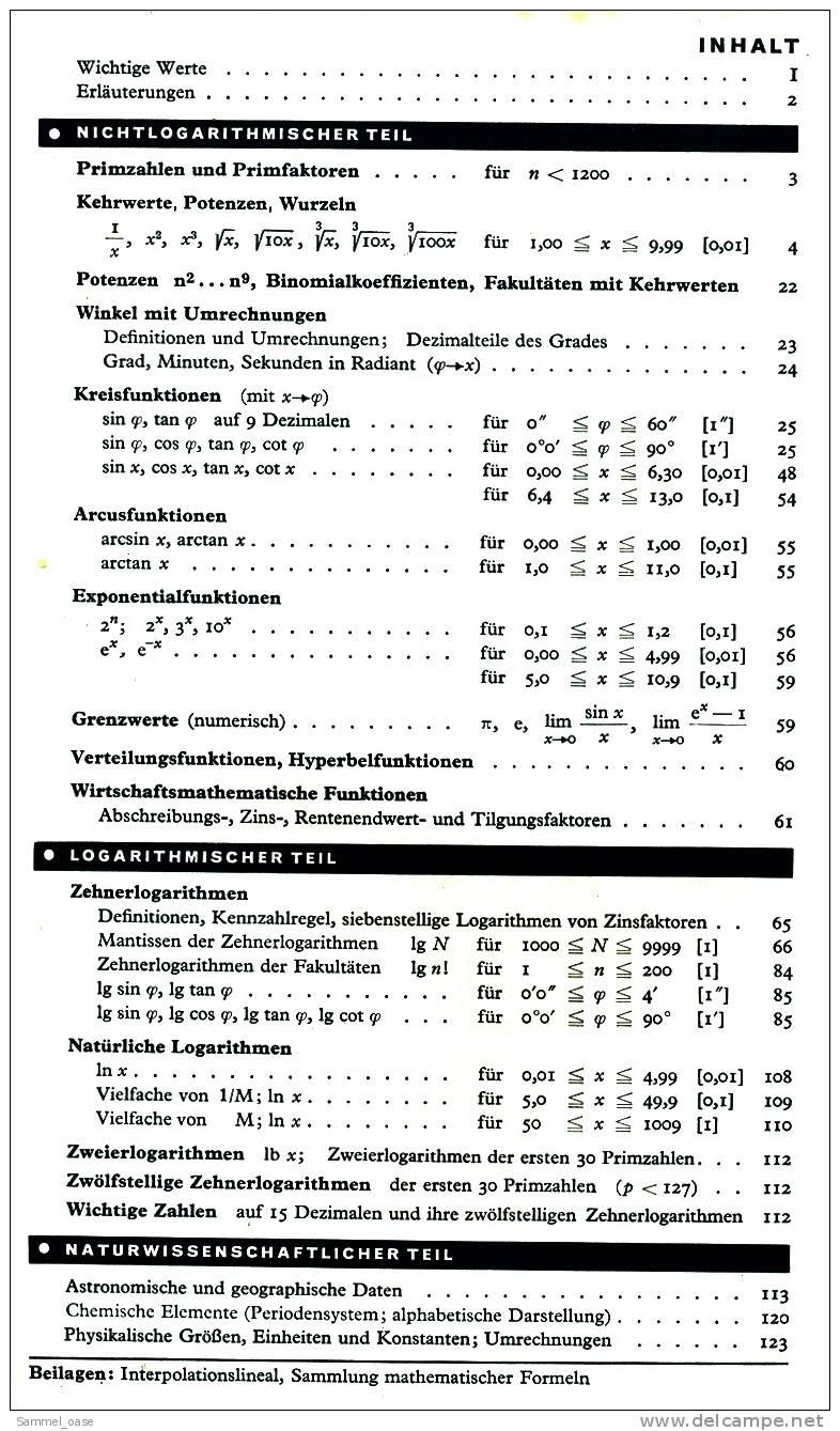 Mathematische Tafeln  -  Mit Formelsammlung A  -  Helmut Sieber  -  Klett Verlag 1976 - Schulbücher