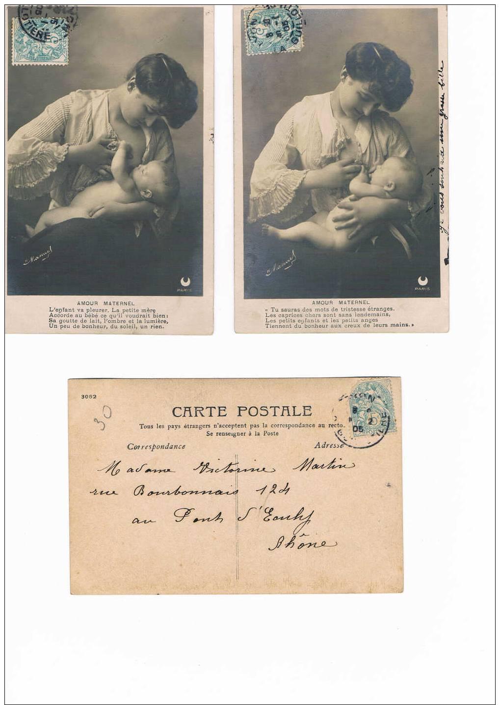 SERIE De 5 Cartes Postales Anciennes - Femme Et Son Enfant - Poëme - Bebes