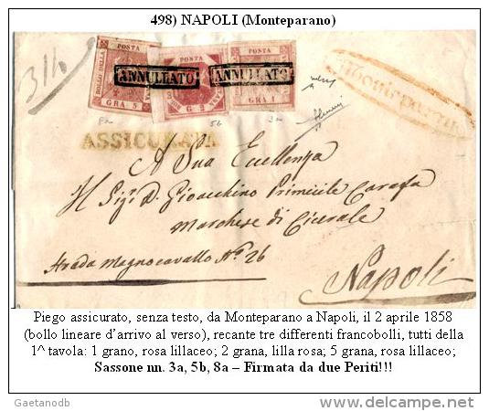 Monteparano-00498 (Piego Assicurato, Del 2 Aprile 1858 - Stupefacente Tripla Affrancatura). - Napoli