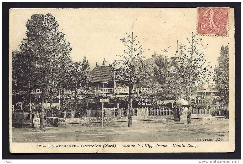 CPA  ANCIENNE- FRANCE- LAMBERSART-CANDELEU (59)- AVENUE DE L'HIPPODROME- MOULIN ROUGE- GROS PLAN- PUB MURALE - Lambersart