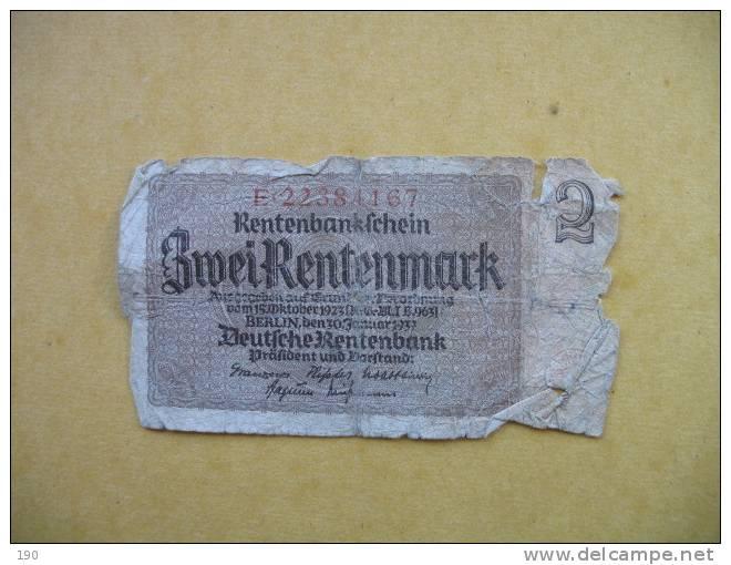 2 ZWEI RENTENMARK 1937 - Unclassified