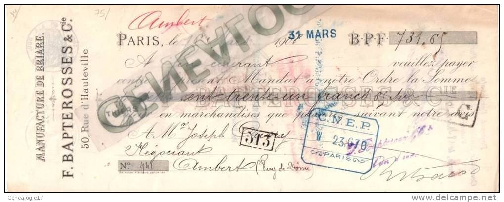 75 793 PARIS Manufacture De Briare F. BAPTEROSSES 50 Rue Hauteville 1908 Dest M. OUVRY - Lettres De Change