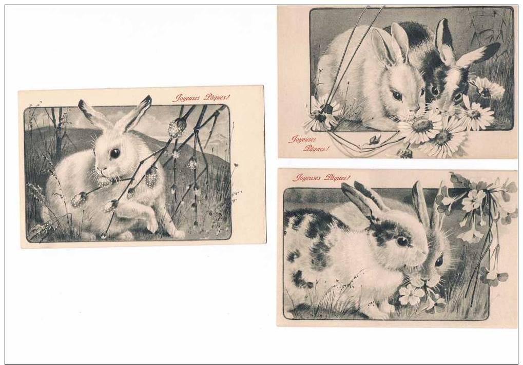 LOT De 5 CARTES POSTALES ANCIENNES - Joyeuses Pâques - Thème Les Lapins. - Pascua