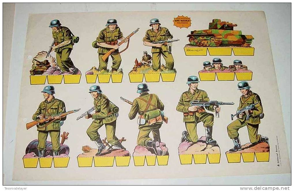 ANTIGUO RECORTABLE HOJAS RECORTABLES SERIE NARANJA SOLDADOS (Nº 1) EDITORIAL ROMA BARCELONA - INFANTERIA ALEMANA  - MIDE - Militares