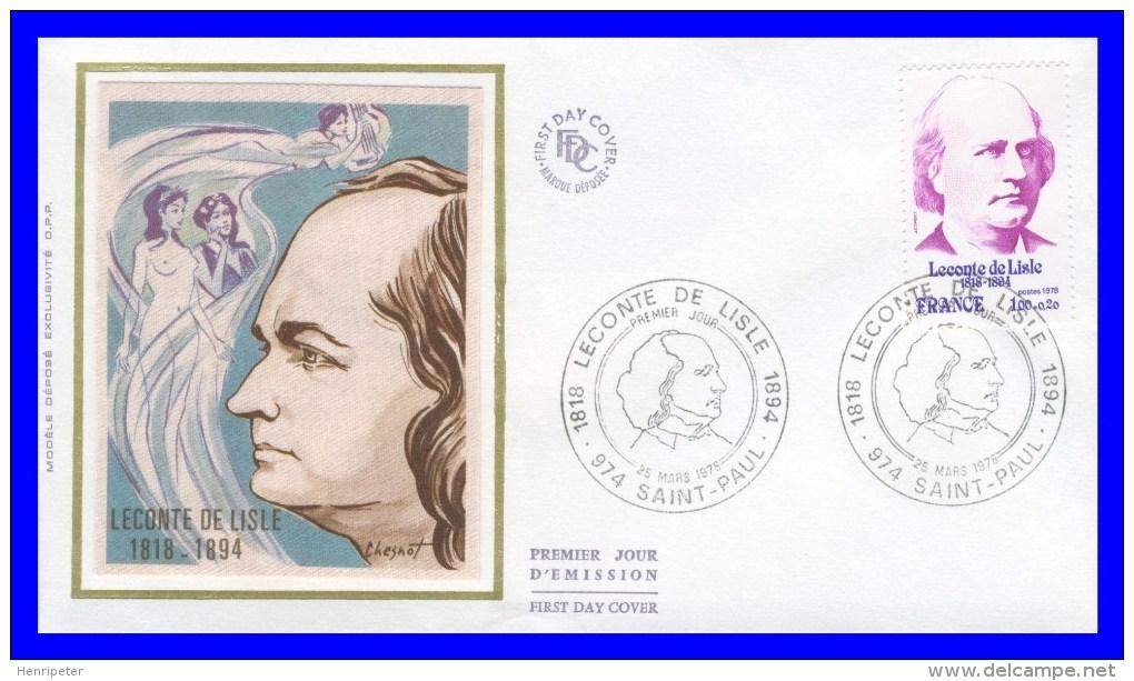 1988 (Yvert) Sur Enveloppe Premier Jour Illustrée Sur Soie - Personnages Célèbres. Leconte De Lisle - France 1978 - 1970-1979