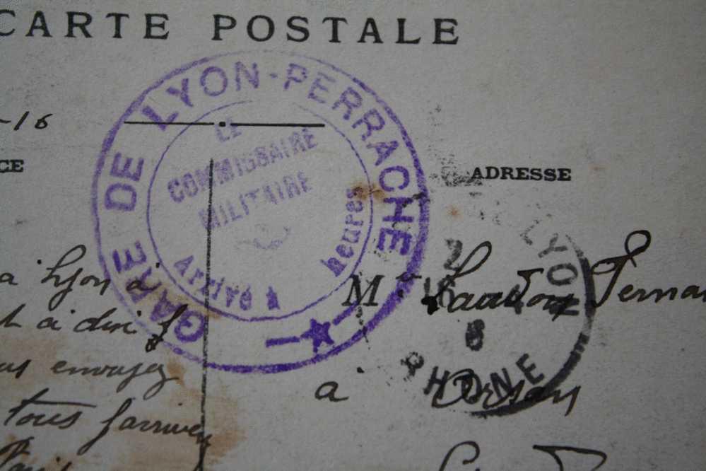 MILITARIA CORRESPONDANCE FRANCHISE MILITAIRE 28é CIE BOURG ST Andéol Cachet Lyon GARE S/CPA  LYON  => ORSON 1916 GUERRE - Marcophilie (Lettres)