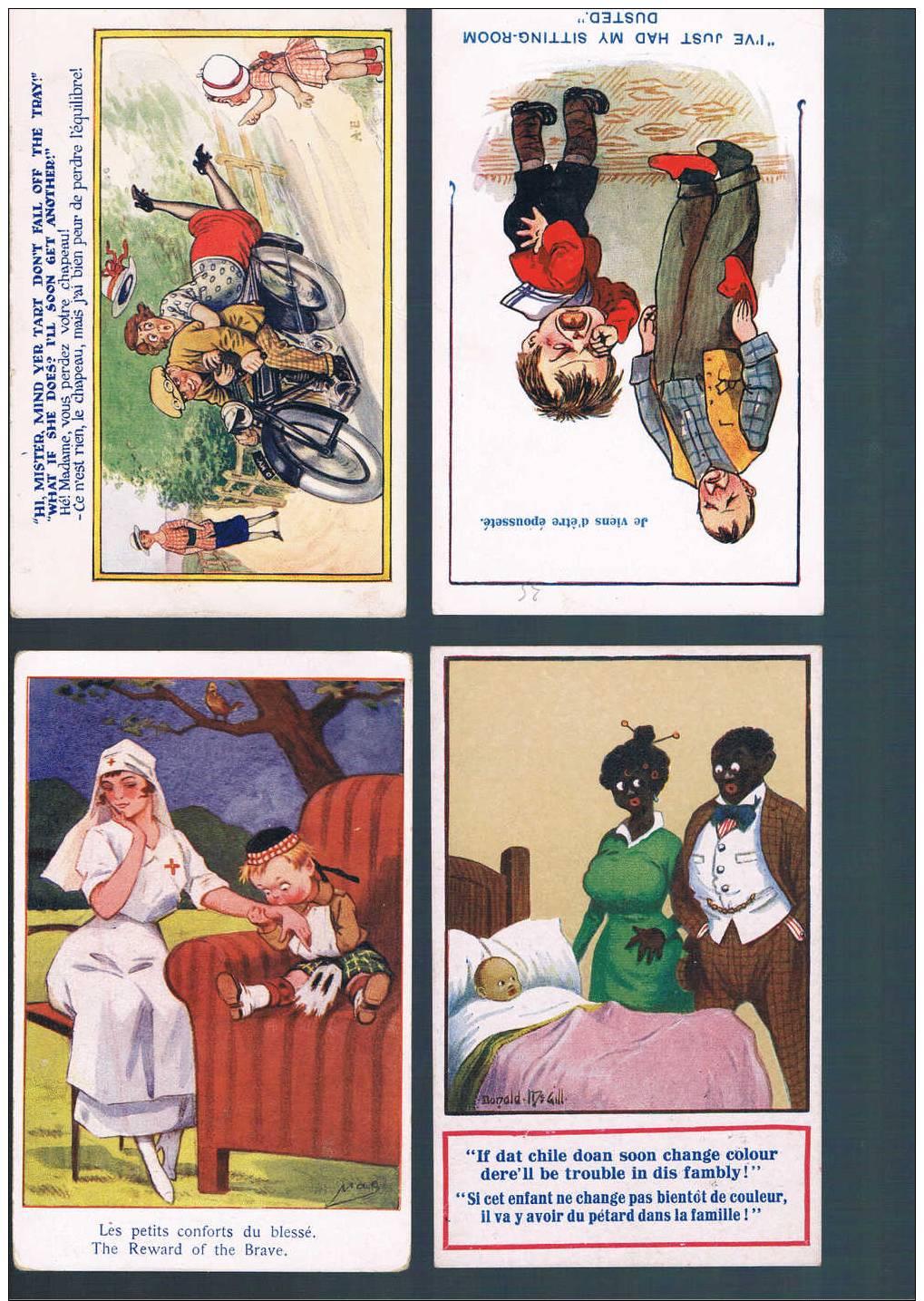 LOT DE 4 Cartes Postales Humoristiques ANGLAISES - Humor