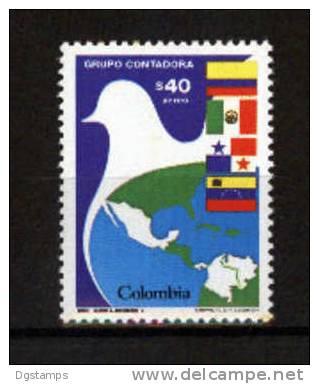 Colombia 1985 YvA736 ** Grupo CONTADORA. Mapa, Banderas De Los Países Participantes. Paloma De La Paz - Organisations