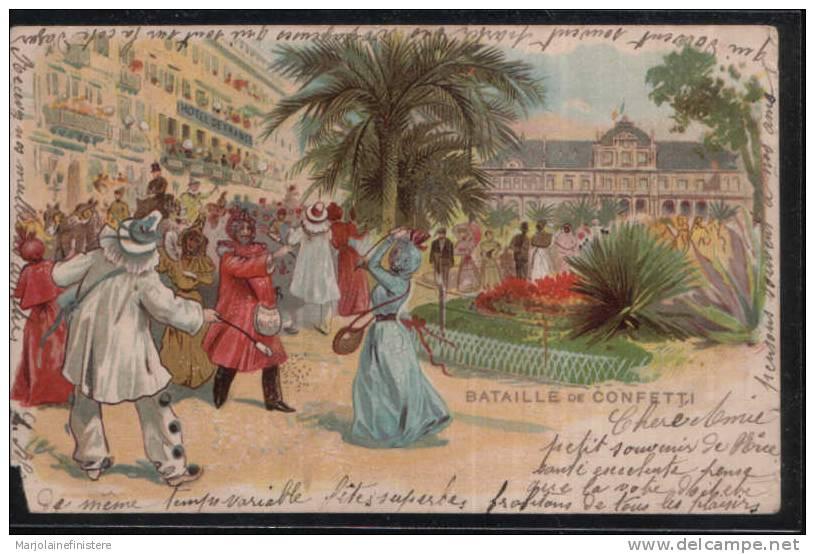 Dép. 06 - NICE - BATAILLE DE CONFETTI. Chromolithographie. Hôtel De France. - Carnival