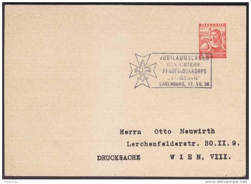 """Autriche 1938. Entier Postal Timbré Sur Commande, Oblitération Troupe Scoute """"Saint Georges"""", Laxenburg - Unclassified"""