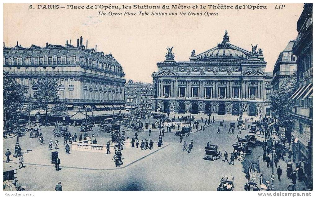 CARTE POSTALE ANCIENNE - Paris - PLace De L'Opéra, Les Stations De Métro Et Le Théatre De L'opéra - Plazas
