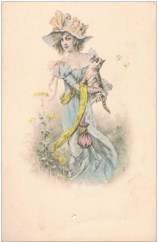 Carte Postale Ancienne - Femme Et Chaton  - Dessin - Sin Clasificación
