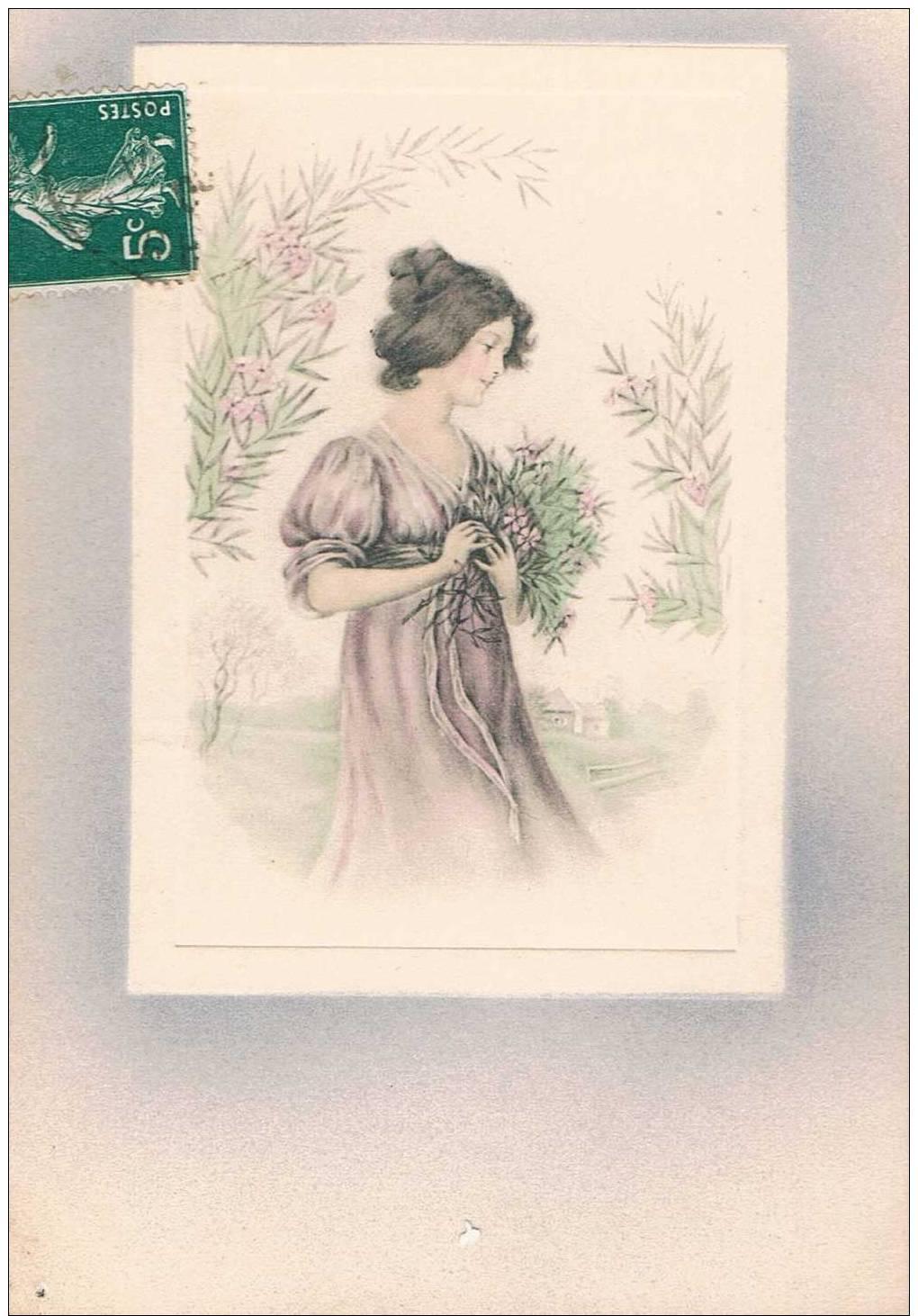 Carte Postale Ancienne - Portrait De Femme  - Dessin - Cartes Postales