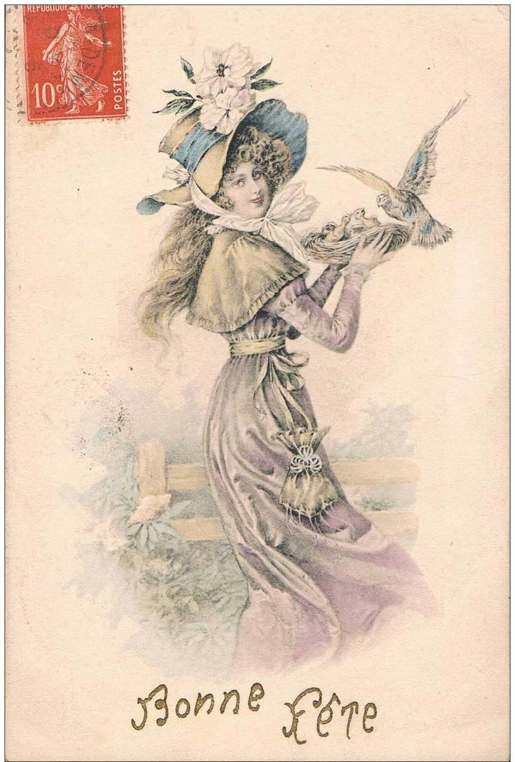 Carte Postale Ancienne - Bonne Fête - Femme Et Oiseaux - Dessin - Fêtes - Voeux