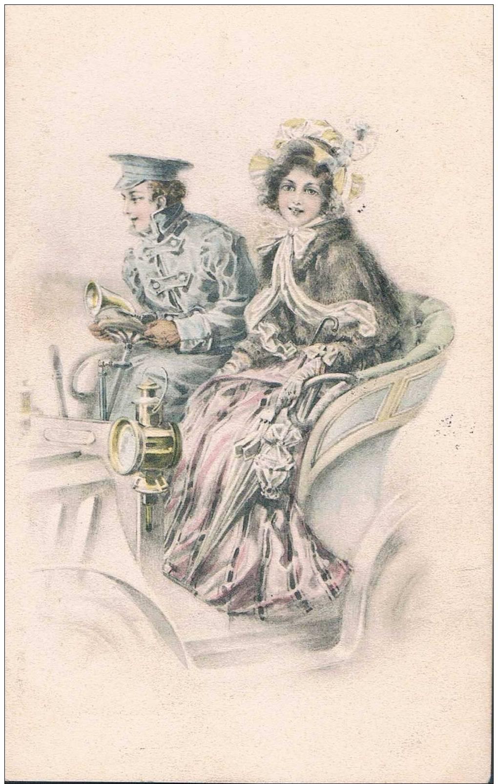 Carte Postale Ancienne - Couple En Voiture - Parejas