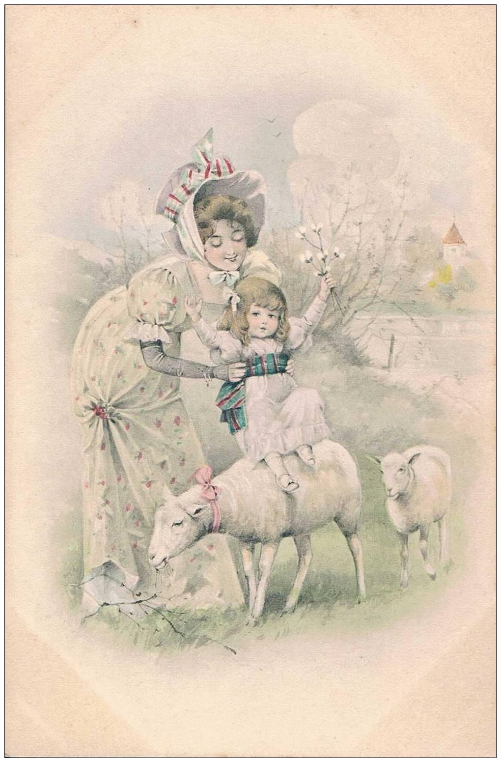 Carte Postale Ancienne - Jeune Femme Et Son Enfant - Dessin - Pâques